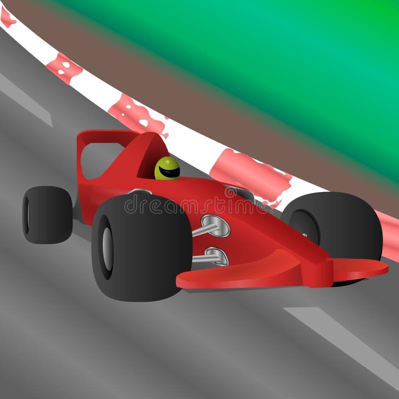Den tävlings- bilen rider på den hög hastigheten längs huvudvägen stock illustrationer