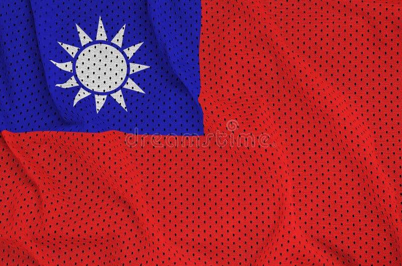 Den Taiwan flaggan skrivev ut på ett tyg för ingrepp för polyesternylonsportswear royaltyfri foto