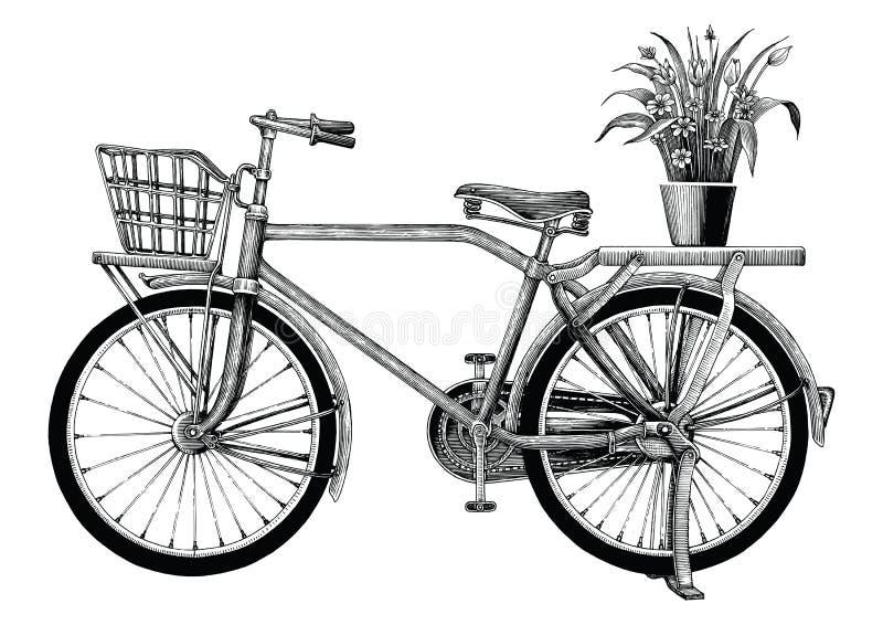 Den tappningcykeln och blomkrukan räcker teckningsgemkonst som isoleras på royaltyfri illustrationer