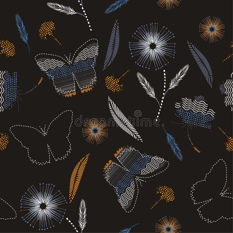 Den tappningfjärilar och blomman i den drog handen målar prickar, b vektor illustrationer