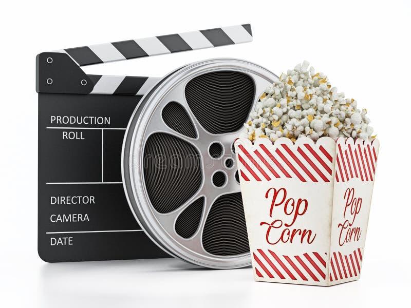 Den tappningpopcorn, panelbrädan och filmen kritiserar isolerat på vit illustration 3d stock illustrationer