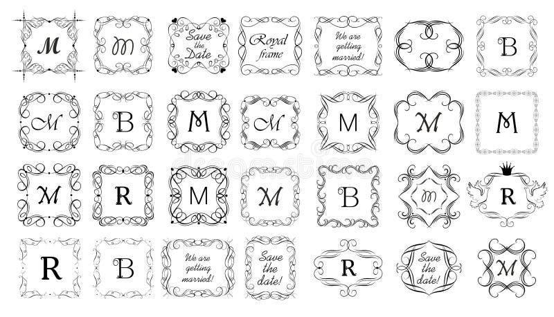 Den tappningramar, karaktärsteckningen, titeln och titelrader ställde in för boken, etiketter, boutique, tecken-brädet, bröllopin royaltyfri illustrationer
