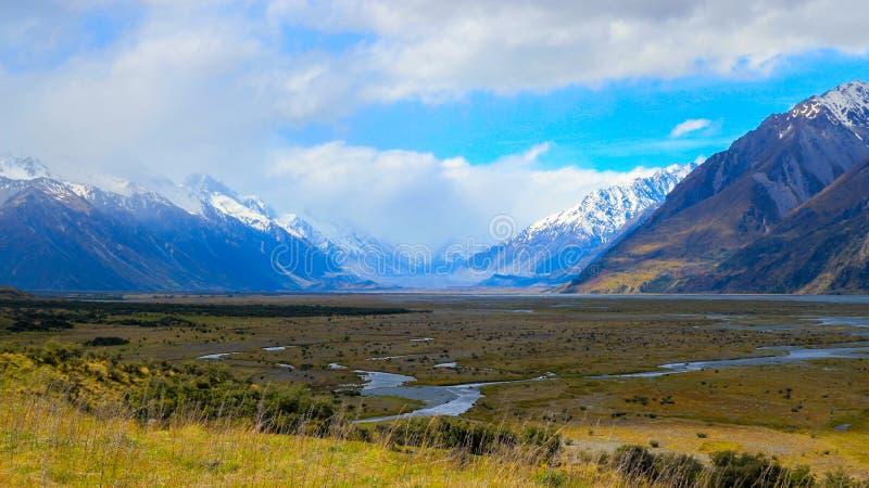 Den Tasman floden flödar i sommar royaltyfria bilder