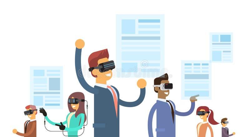 Den Team Wear Reality Digital Glasses för gruppen för affärsfolk hörlurar med mikrofon läste faktiskt nyheternapapper stock illustrationer