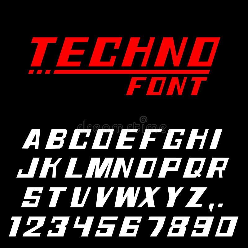 Den Techno stilsorten märker och nummer stock illustrationer