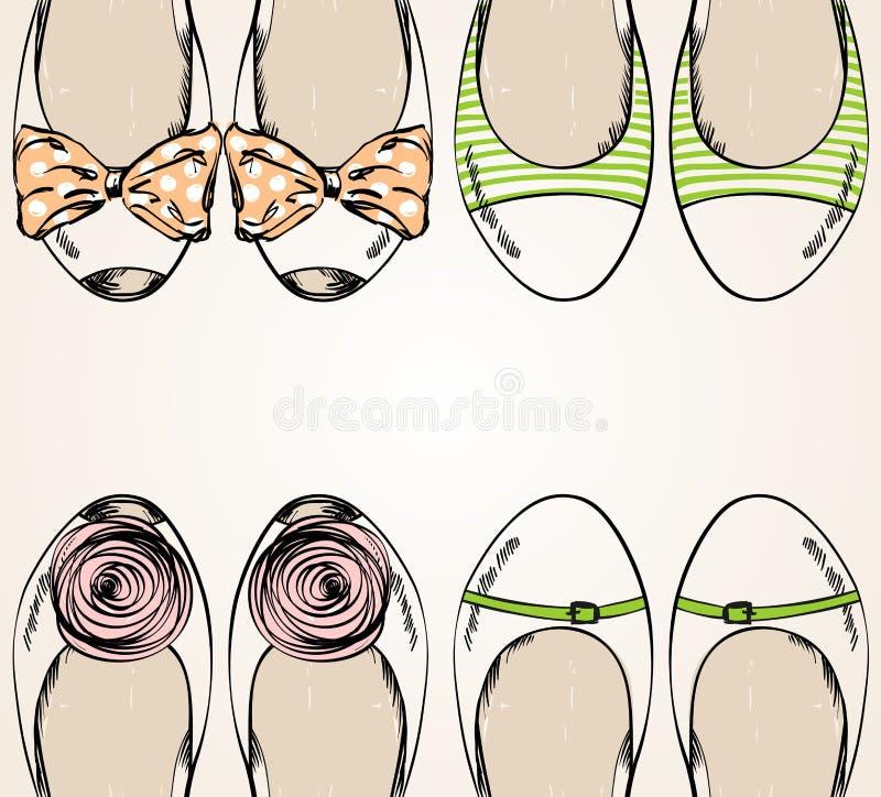 den tecknade trendiga handillustrationen för mode shoes moderiktigt vektor illustrationer