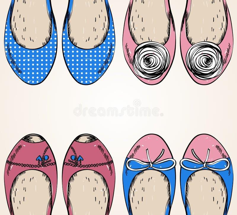 den tecknade trendiga handillustrationen för mode shoes moderiktigt royaltyfri illustrationer