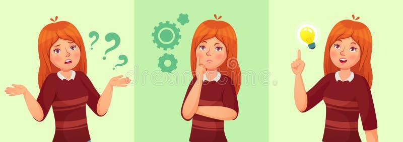 den teen flickan tänker Förväxlad ung kvinnlig tonåring, fundersam flickastudent och svarande frågevektortecknad film vektor illustrationer