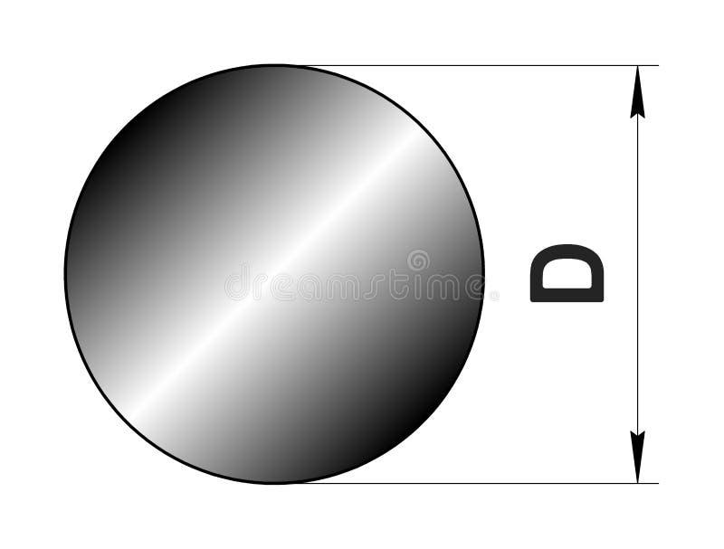 Den tekniska teckningen rullade metall Stålcirkelprofil Bild för webbplats illustration stock illustrationer