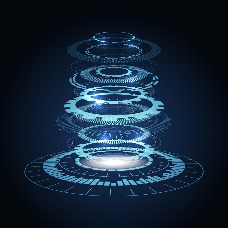 Den teknologiska cirkeln lokaliseras i separata lager, 3D konstgjord intelligens Automatiserade system vektor illustrationer