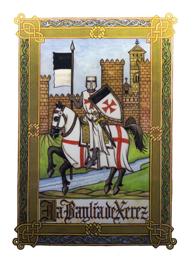 Den Templar riddaren armerade tungt på hans warhorse arkivfoton