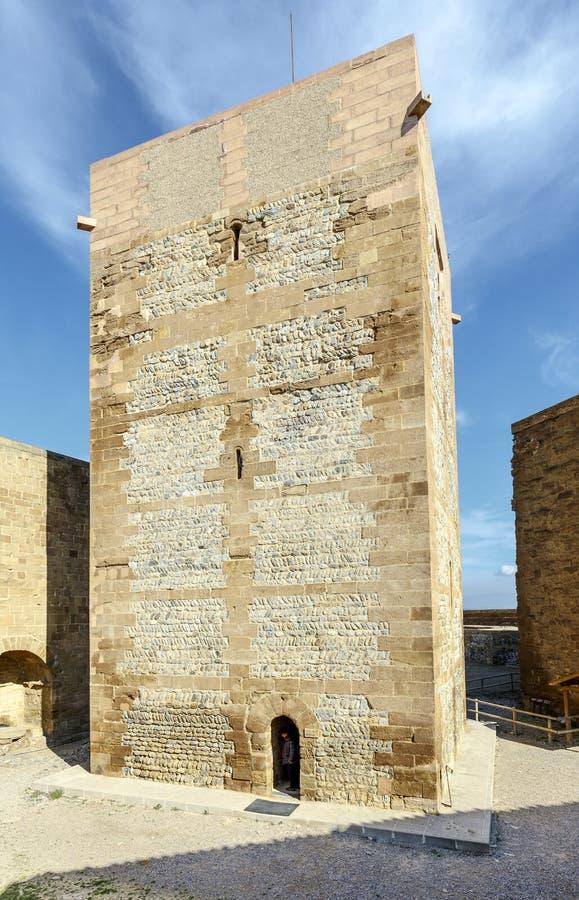 Den Templar slotten av Monzon Av det 10th århundradet Huesca Spanien för arabiskt ursprung arkivbilder