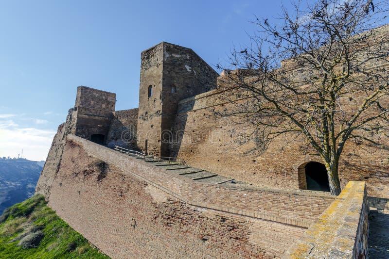 Den Templar slotten av Monzon Av det 10th århundradet Huesca Spanien för arabiskt ursprung royaltyfri fotografi