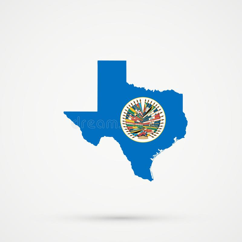 Den Texas översikten i organisation av amerikanska stater sjunker färger, redigerbar vektor vektor illustrationer