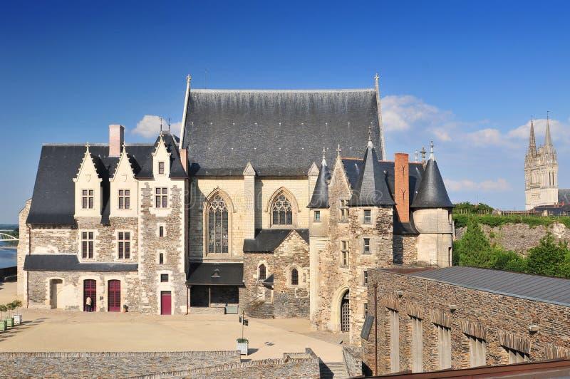 Den 15th århundradekapellchateauen D 'Angers Är en slott i staden av Angers, Loire i Frankrike arkivfoto