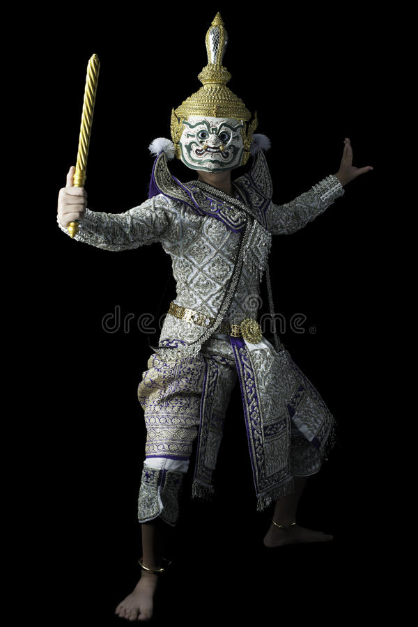 Den thailändska maskeringsdansen kallade Khon royaltyfria foton