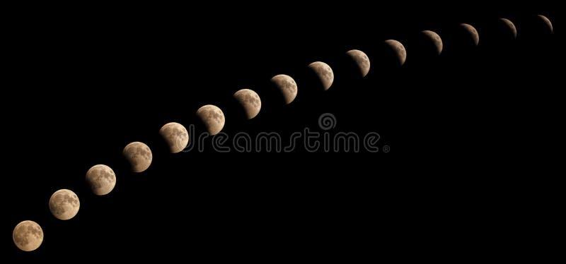 Den Tid serien av månförmörkelsen på Juli 27 2018, följd av 15 faser från 8:08 e.m. till 9:18 e.m., fångade i Kairo, Egypten royaltyfri bild