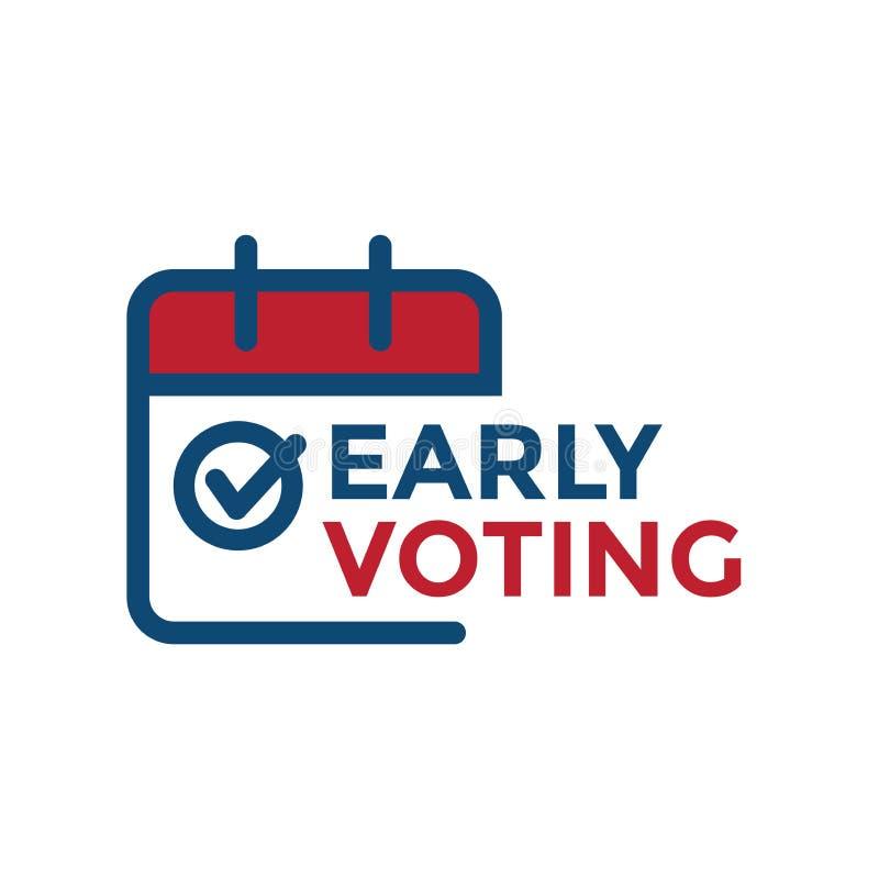 Den tidiga rösta symbolen med röstar, symbolen, och den patriotiska symbolismen och färger vektor illustrationer