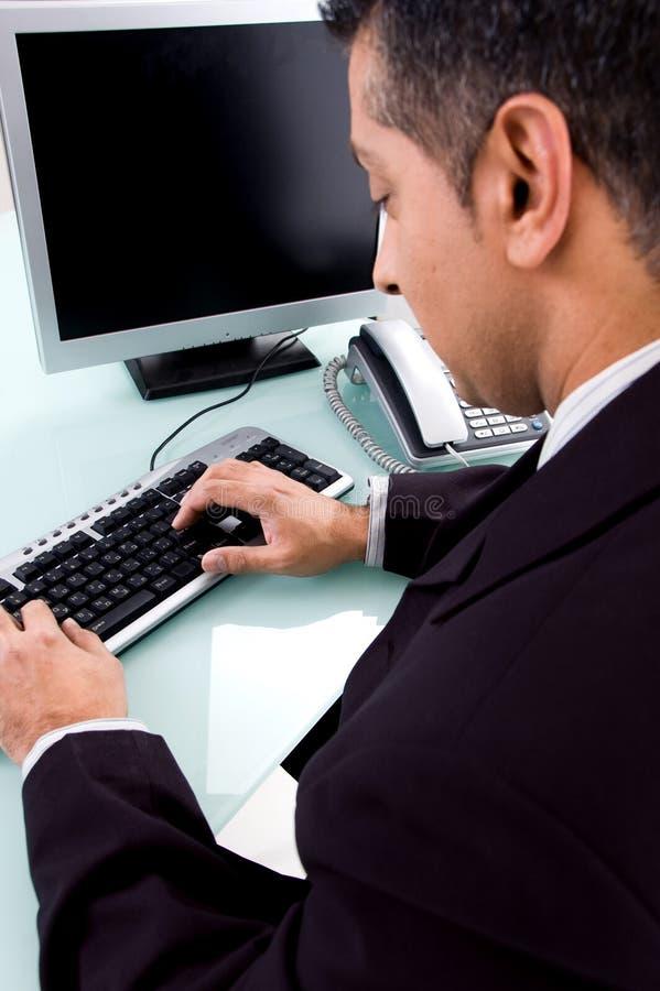 den tillbaka affärsmandatoren poserar att fungera royaltyfria foton