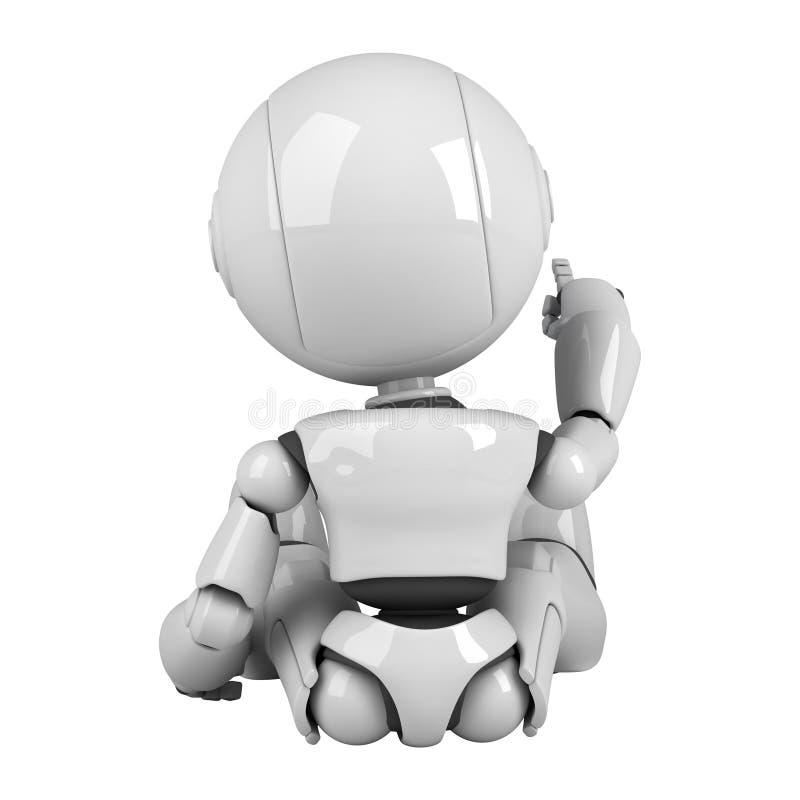 den tillbaka roboten sitter white royaltyfri illustrationer
