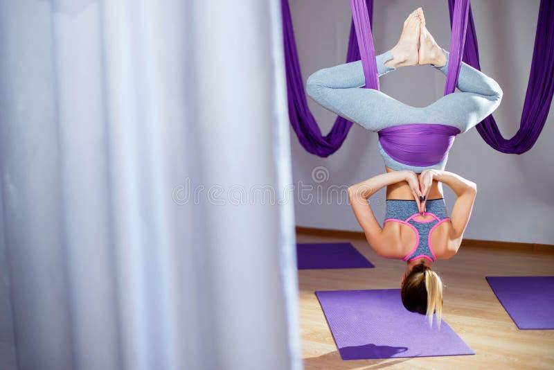 Den tillbaka sikten av attraktivt göra för ung kvinna poserar av antigravity yoga i studio royaltyfria bilder