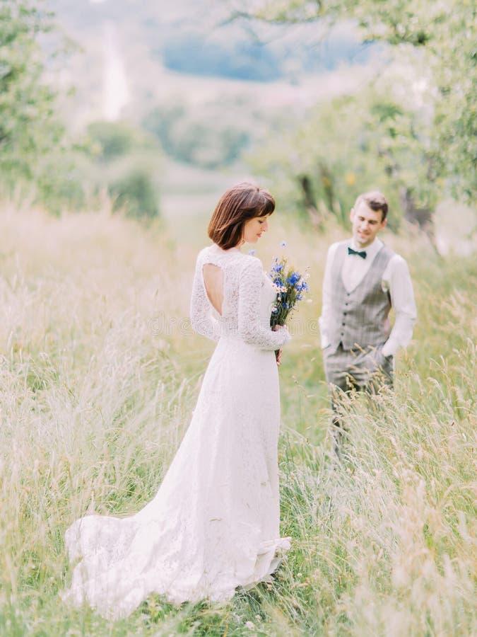 Den tillbaka sikten av bruden med blåtten blommar på den suddiga bakgrunden av brudgummen i fältet royaltyfria foton