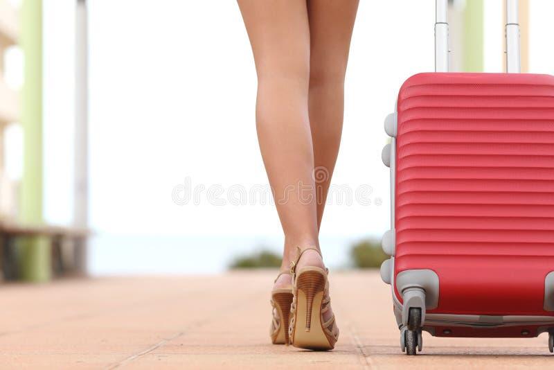 Den tillbaka sikten av en handelsresandekvinna lägger benen på ryggen att gå med en resväska royaltyfria foton