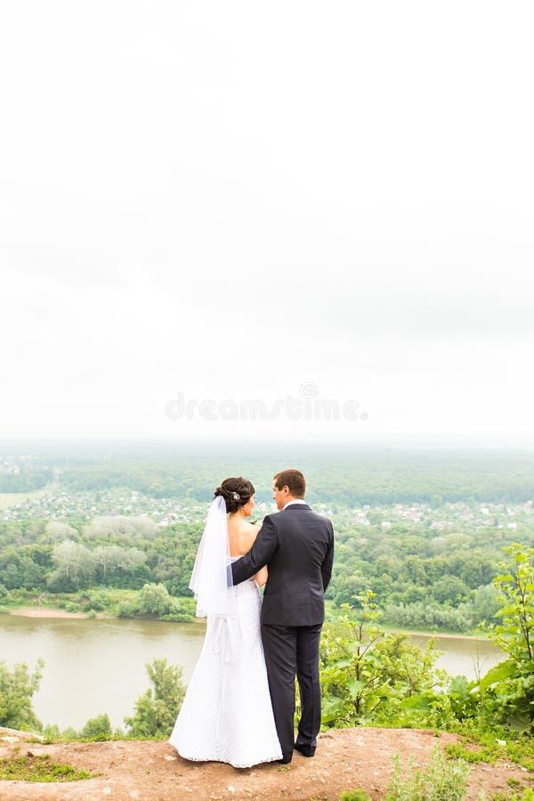 Den tillbaka sikten av innehavet räcker bruden och brudgummen utomhus arkivfoto