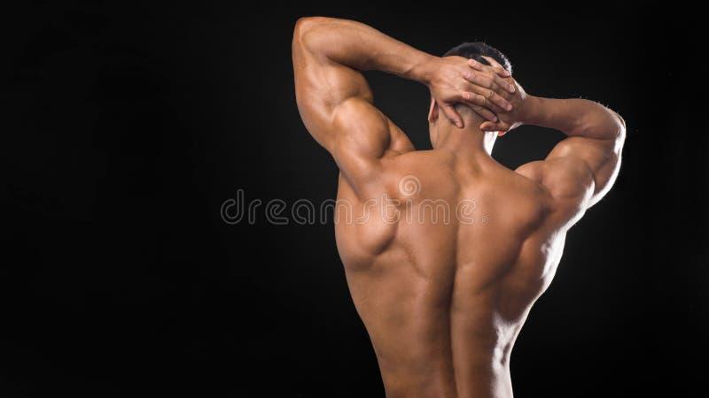 Den tillbaka sikten av torson av den attraktiva byggmästaren för manlig kropp på mörk bakgrund royaltyfri bild