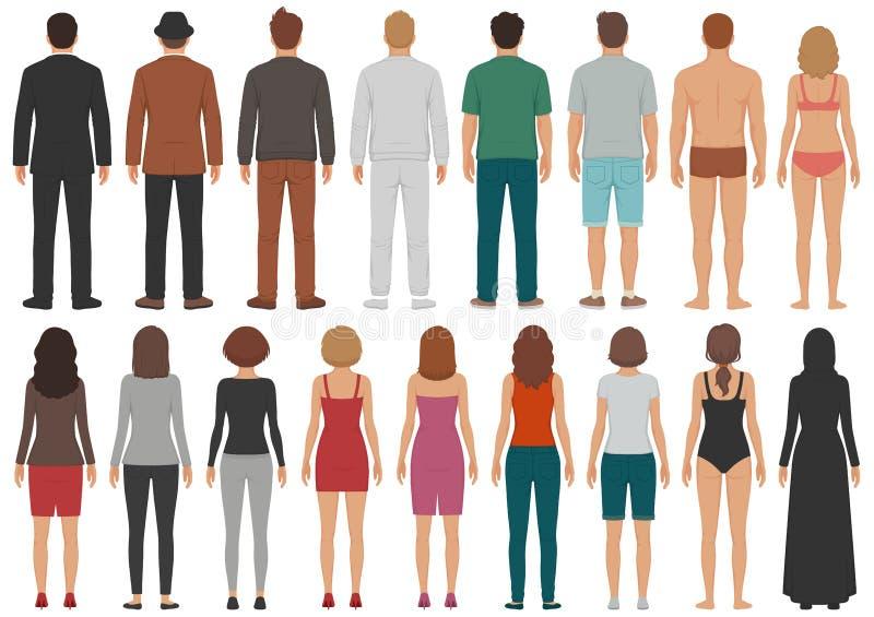 Den tillbaka siktsfolkgruppen, mannen, stående tecken för kvinnan, affär isolerade personen royaltyfri illustrationer