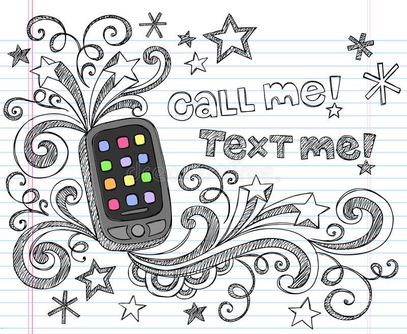 den tillbaka skolan för telefonen för cellklotterpdaen ställde in till vektorn royaltyfri illustrationer