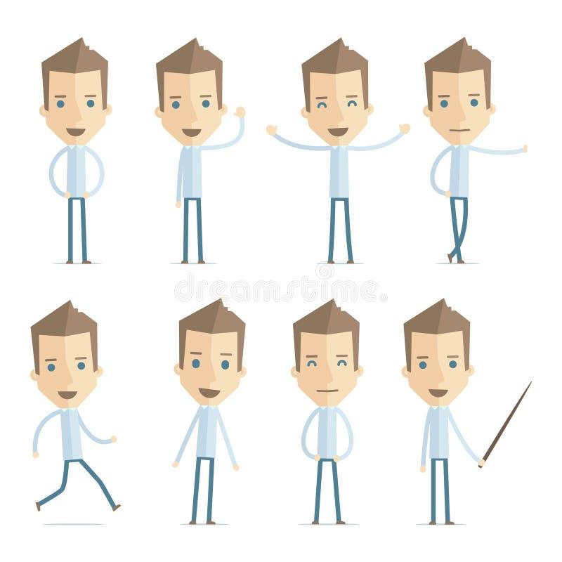 Den tillfälliga mannen i olikt poserar vektor illustrationer