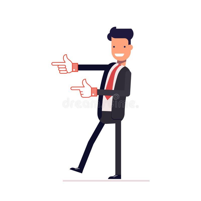 Den tillfredsställda affärsmannen eller chefen indikerar något Le mannen i shower för affärsdräkt Vektor illustration EPS10 royaltyfri illustrationer