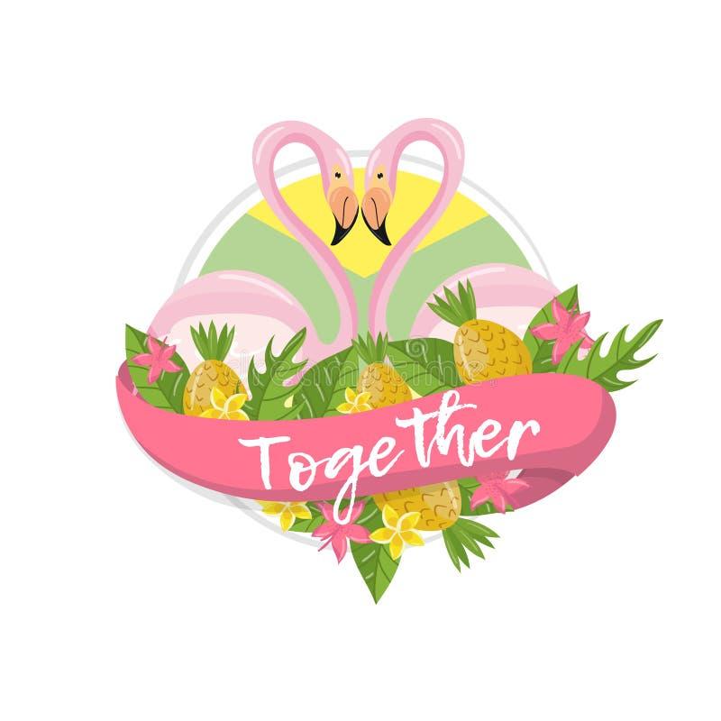 Den tillsammans tropiska sommaretiketten, designbeståndsdelen med palmblad, blommor, ananors och flamingo kopplar ihop vektorn stock illustrationer