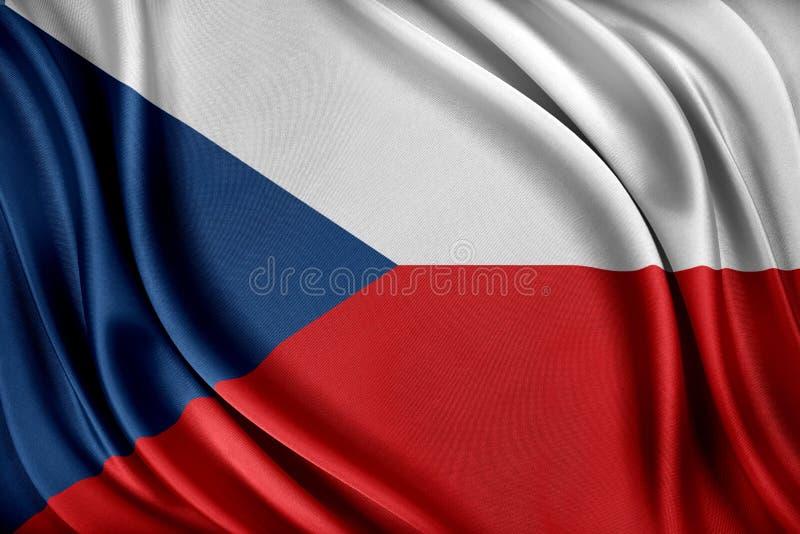 Den tjeckiska republiken sjunker Flagga med en glansig siden- textur royaltyfri illustrationer