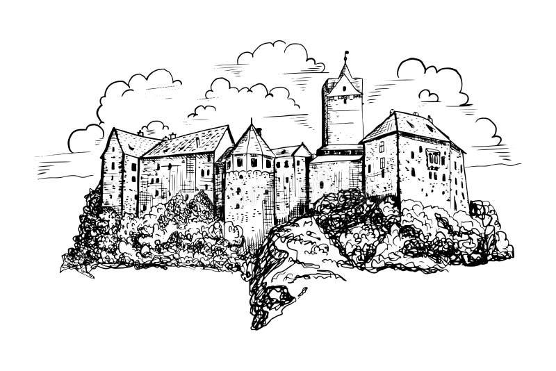 Den tjeckiska slotten skissar illustrationen Utdraget färgpulverlandskap för hand med forntida arkitektur i Europa Byggande diagr royaltyfri illustrationer