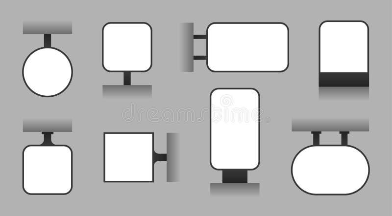 Den tomma advertizingskylten, utomhus- lightbox, shoppar mallen för signage- och skärmbrädevektorn vektor illustrationer