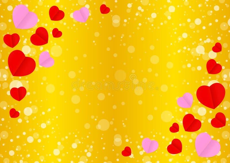 Den tomma guld- ramen och röd rosa hjärtaform för guld- bakgrund för mallbanervalentin, många hjärtor formar på guld- lutn vektor illustrationer