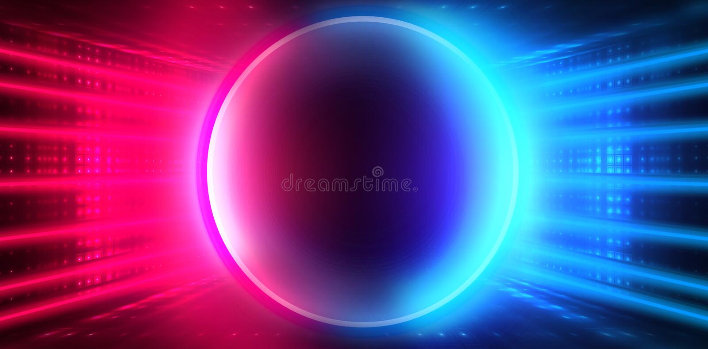 Den tomma mörka futuristiska Sci Fi stora Hall Room With Lights And cirkeln formade neonljus Mörk neonbakgrund royaltyfri illustrationer