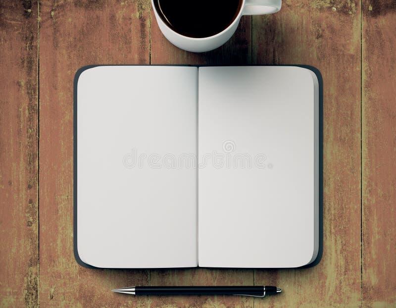 Den tomma notepaden och kaffe rånar royaltyfri illustrationer