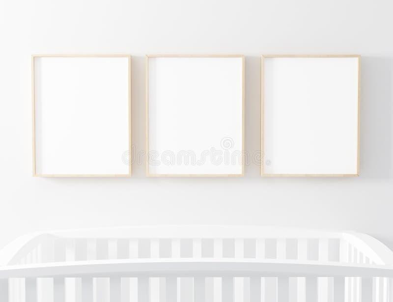 Den tomma rambarnkammaremodellen med behandla som ett barn kåtan royaltyfri illustrationer