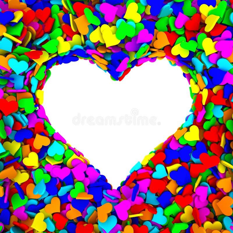 Den tomma ramen av hjärtaform komponerade av många små färgrika hjärtor royaltyfri illustrationer