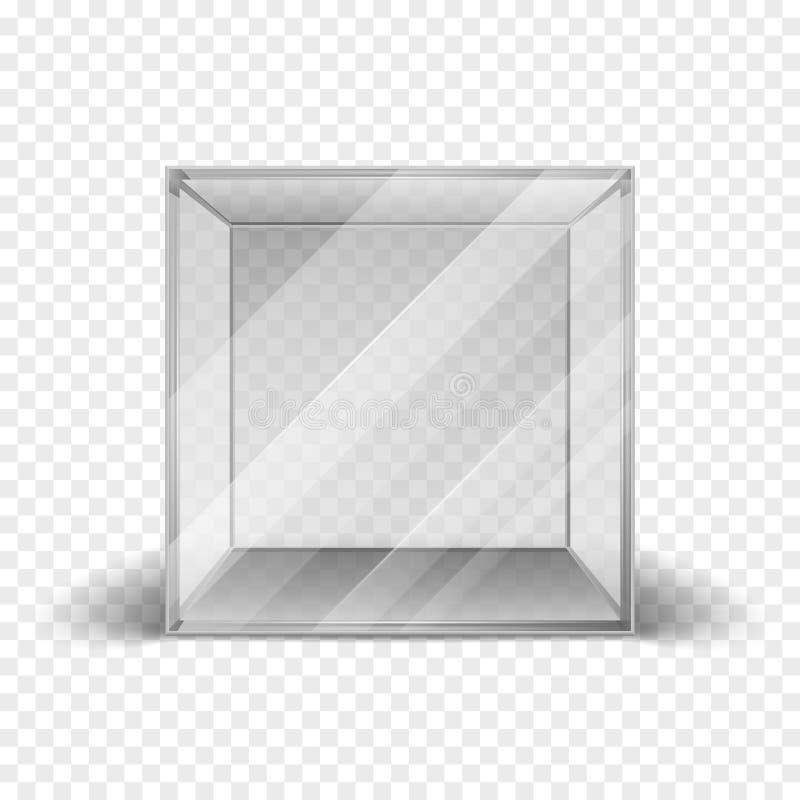 Den tomma rena glass askkuben ställer ut isolerat på rutig bakgrund royaltyfri illustrationer
