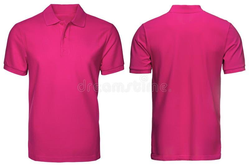 Den tomma rosa den poloskjortan, framdelen och baksida beskådar, isolerad vit bakgrund Planlägg den poloskjortan, mallen och mode royaltyfri foto