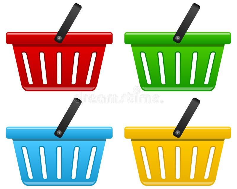 Shoppingkorgsamling stock illustrationer