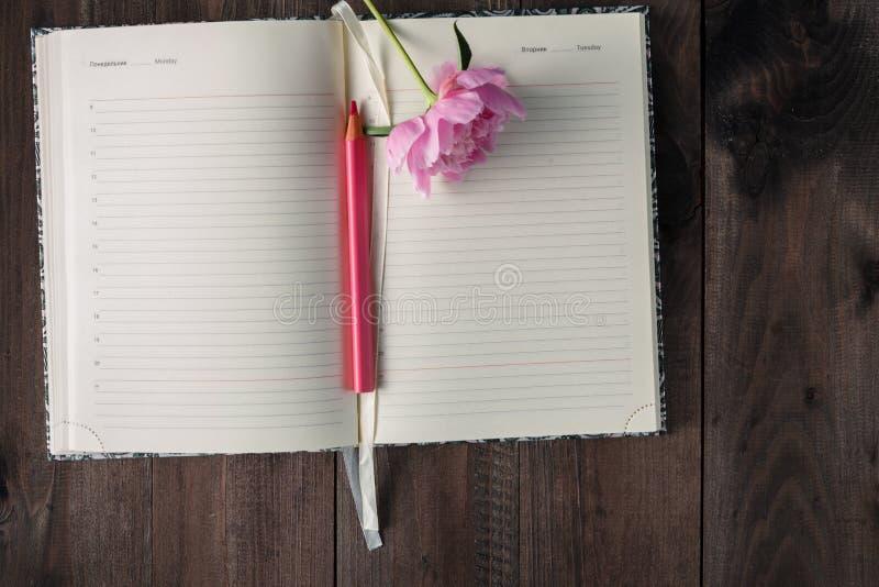 den tomma sidan av anteckningsboken och blyertspennan, rosa färg blommar på wood backgroun royaltyfria bilder