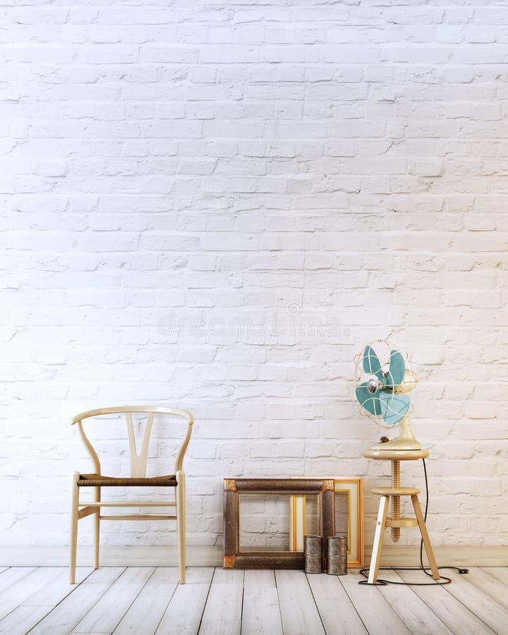 Den tomma väggen med trästol och luft fläktar i en modern inre för vit tegelstenbakgrund vektor illustrationer