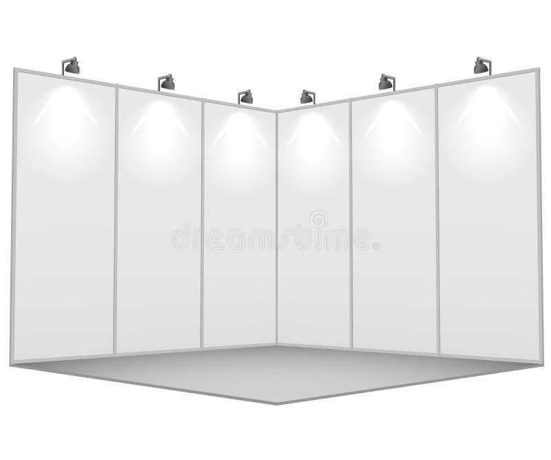Den tomma vita utställningställningen 3x3 delar upp mallen stock illustrationer