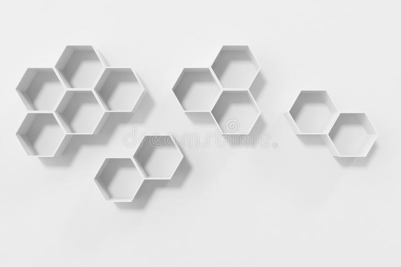 Den tomma vita väggen med sexhörning bordlägger på väggen, tolkningen 3D arkivfoton