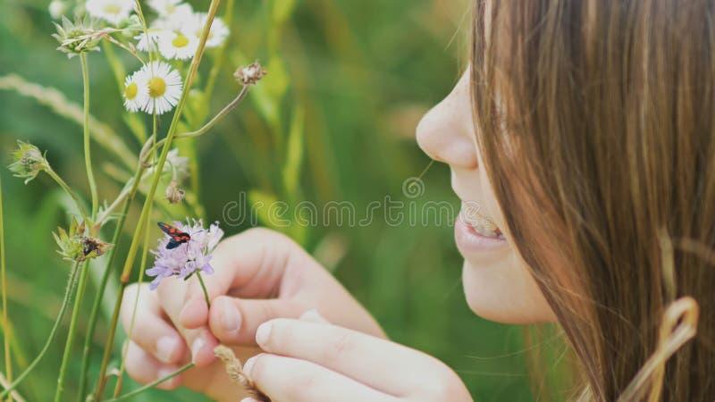 Den tonårs- flickan beundrar en mal på en blomma varm dagsommar arkivfoto